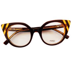 cc2f3e3b4252d Armação Óculos De Grau Fendi Redondo F0218 Feminino Gatinho