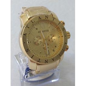 Relógio Dourado Masculino Atlantis A-3310 Original