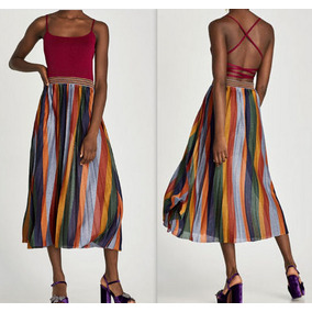 627a7be3d1ef3 Verao Zara Vestido Listrado - Vestidos Femininas no Mercado Livre Brasil