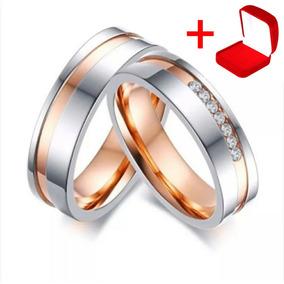 Alianças Aço Inox Banhada Ouro Rosê Namoro Compromisso Par