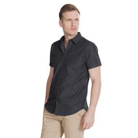 Camisas Hombre Manga Corta Negra Slim Fit Casual B85352