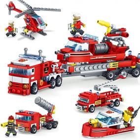 Blocos De Montar 4 Em 1 Bombeiro Caminhão Compatível Lego