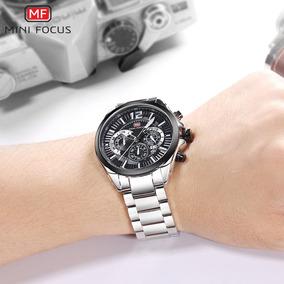 77290b1bc8d Mini Focus Moda Aço Aço Homens Esporte Relógio 3atm