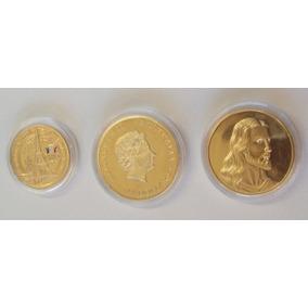 3 Moedas Comemorativas Banhada A Ouro Rep. Estojo