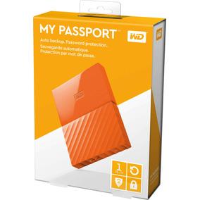 Hd Externo Portátil Wd My Passport Usb3.0 1tb - Laranja