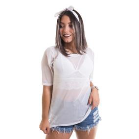19f4e733b Blusa Transparente Branca Tamanho P - Camisetas e Blusas Cropped ...