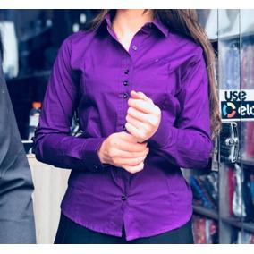 60bb289361 Camisa Social Femininas Violeta escuro no Mercado Livre Brasil