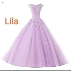 Vestidos de 15 color lila y blanco