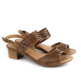 Sandálias Salto Baixo Pinhão Couro Coleção Verão Perlatto