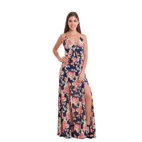 Vestido Largo Azul Con Flores Y Apertura En Piernas