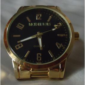 Relógio M K Mostrador Preto Pulseira Série Ouro 3
