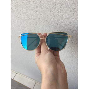 Óculos Espelhado Feminino Olho De Gato Preto Metal Redondo - Óculos ... 4f7699d3c7