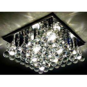 Lustre Sala Moderno Plafon Cristal Quadrado 40x40 C/g9 Led