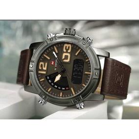 Relógio Masculino Naviforce Luxo Pulseira Couro