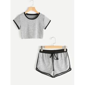 Tsuki Moda Japonesa Conjunto Set Pijama Crop Top Shorts Dama