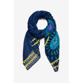 Pashmina Dama Azul-neon Mandalas Desigual