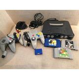 Consola Nintendo 64 C/cables, Fuente, 2 Joystick + 3 Juegos
