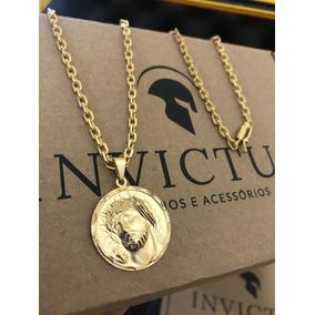Cordão Cadeado 3,5mm + Medalha Face Cristo Banhados Ouro 18k