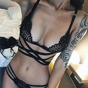 Sexy Bralette Lencería Y Panty Encaje Coordinado Conjunto