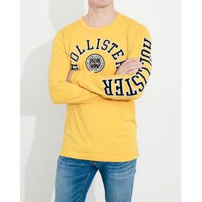 Hollister Camiseta Mostaza Con Aplique Orginales