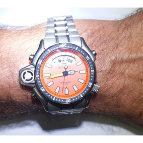 Relógio Aqualand Atlantis Jp2000 A3220 Aço Laranja Original