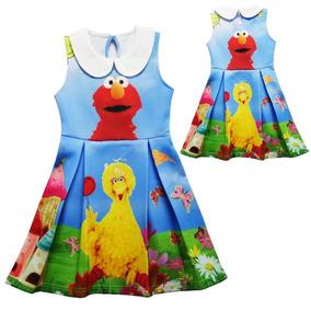 Vestido De Niña, Elmo Plaza Sesamo 4/5 Años