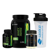 3x Kit Suplemento Whey Bcaa Creatina Coqueteleira Chocolate