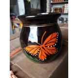 Caja 90pz Olla De Barro Decorada Con Mariposa