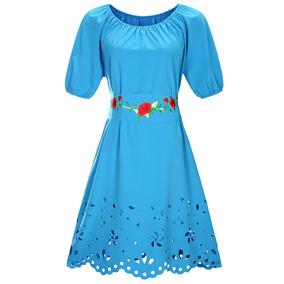 Vestido azul marino con bolitas blancas