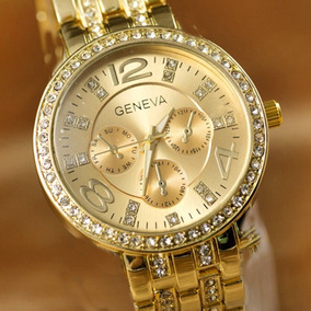 26926e732d9 Relogio Feminino Dourado Luxo Geneva - Relógios De Pulso no Mercado ...