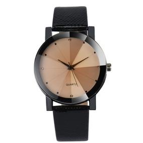 Relógio Quartz Bronze Feminino Pulseira De Couro P.u. Preta