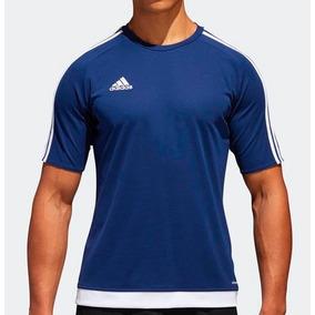 Camiseta adidas Climalite Estro 15 Azul branca 308036b20acb1
