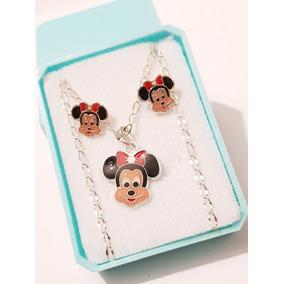 Aretes De Plata Y Collar De Ratoncita Mouse De Plata Envio