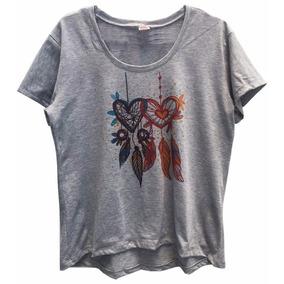 Blusa Camiseta Cinza Feminina Filtro Dos Sonhos Coração 36ce0def6d5