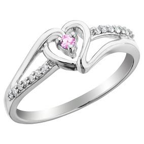 Promise Ring Zafiro Rosa Corazón Con Diamantes 1/10 Carat (