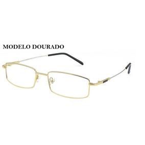 Armacao Quadrada Cor Dourada - Óculos no Mercado Livre Brasil 91d97be2f0