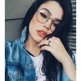 15487caa0329b Óculos Sem Grau Feminino Modelo Redondo Estiloso Lente Clara