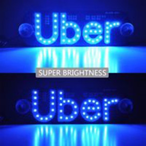 Placa Uber Letreiro Luminoso 46 Leds Suporte Frete Grátis