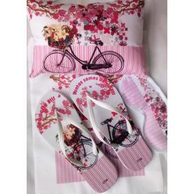 5 Kits Festa Do Pijama Com Chinelo+máscara+bolsa+almofada