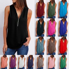 New Women Loose Vest Tank Top V-neck Sleeveless Zipper