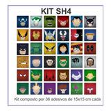 Adesivos De Parede Infantil Azulejos Super Heróis 19x19 Cm