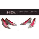 Sapato Melissa Anabela Salto Plataforma Scarpin Cinza Rosa