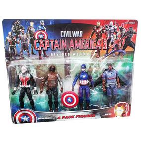 Kit 4 Bonecos Capitão América Civil War Avengers Vingadores