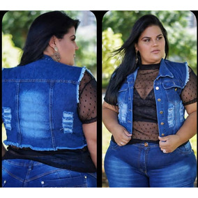 Colete Jeans Plus Size G1 G2 G3 Curto Foto Real Moda Plus