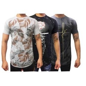 Kit 08 Camisa Masculina Longline Estampas Variadas Algodão..