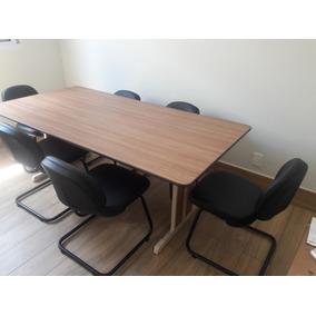 Mesa De Reunião Retangular Para Escritório Com 6 Cadeiras