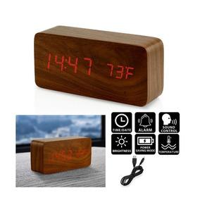 Reloj Despertador Digital Led Alarma Usb Rectangular