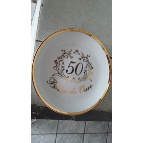 Prato Antigo Bodas Ouro 24,5 Diâmetro Sao Joaquim Porcelana