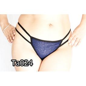 Tanga Coqueta Brillosa En Azul, Doble Tira Ta024
