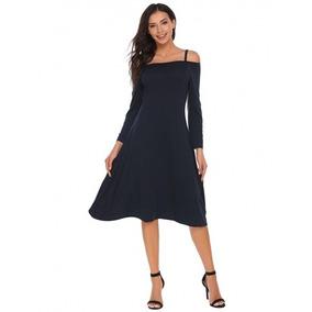 Vestido Negro Casual Hombro Descubierto Talla Extra
